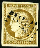 N°1, 10 C. Bistre-jaune, Oblitéré PC, Superbe - 1849-1850 Ceres