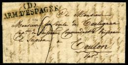 (D)/ARM. D'ESPAGNE Sur LAC De Pampelone Du 27 Avril 1824 Pour Toulon, TB - Postmark Collection (Covers)