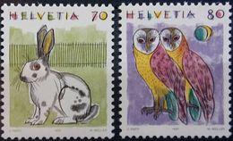 Switzerland, 1991, Owl, Rabbit, MNH