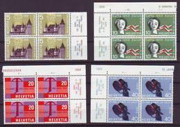 Switzerland 1958 Y Anniversaries Mi No 653-56 Blocks Of 4 Unused