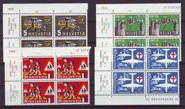 Switzerland 1956 Y Anniversaries Transport Traffic Mi No 623-26 Blocks Of 4 Unused