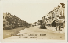 Belvidere Illinois State Street Looking North  Fourties Fifties Old Cards - Etats-Unis
