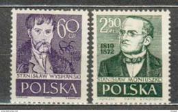 POLAND MNH ** 947-948 STANISLAW WYSPIANSKI MONIUSZKO Peintre Poète Compositeur Musique