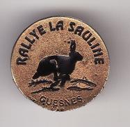 PIN'S  GUESNES -- RALLYE LA SAULINE   ( Vienne Dép 86 ) Chasse Avec Meute De Chiens ( Lapin - Lièvre ) - Städte