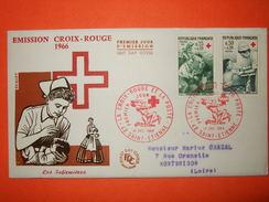 FRANCE 1er Jour 1966 - Paire N°1508/09 Croix-Rouge Sur Enveloppe.  Superbe