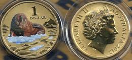 AUSTRALIA $1 POLAR SERIES WALRUS ANIMAL COLOURED QEII HEAD 1YEAR TYPE 2013 UNC NOT RELEASED READ DESCRIPTION CAREFULLY!! - Mint Sets & Proof Sets