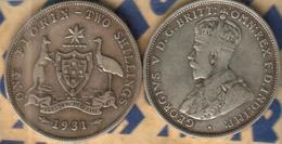 AUSTRALIA 1 FLORIN EMBLEM BIRD FRONT MAN KGV HEAD BACK 1931 F+/F+ CV$50 SCARCE DATE READ DESCRIPTION CAREFULLY !!! - Monnaie Pré-décimale (1910-1965)