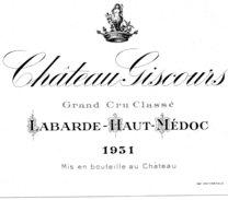 Etiquette Chateau GISCOURS 1931 Grand Cru Classé  Labarde - Haut Médoc (MUS) - Bordeaux