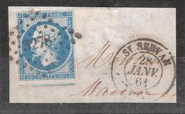 Empire N° 14 B Obl Pc 3278 + Cachet à Date De ST SAINT SERVAN, Ille Et Vilaine,28 Janvier 1861 Sur Fragment, TTB