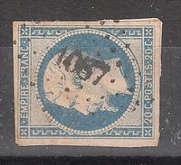 Empire N° 14 A F BLEU LAITEUX   Obl Pc 1087 De DEMANGE AUX EAUX , Meuse  , INDICE 9 , Belle Frappe , TB