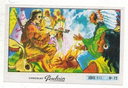 Image Chocolat Poulain Série N° 111 : La Ballade De DAVY CROCKETT => Image N° 73 - Musique Chanson Calumet Peaux Rouges - Poulain