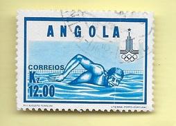 TIMBRES - STAMPS - ANGOLA - 1980 - JEUX OLYMPIQUES DE MOSCOU - TIMBRE OBLITÉRÉ