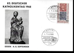 ALLEMAGNE Carte 1968 Timbre Sur Timbre  Poste Essen