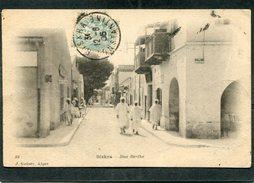 CPA - BISKRA - Rue Berthe, Animé  (dos Non Divisé)