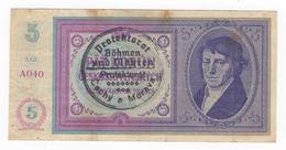 Bohemia & Moravia 5 Koruna 1939. - Banknoten