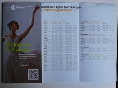 Alt1018 Timetable Flights Schedule Orario Voli Flight Information Aereo Avion S7 Airlines Russia Saint Petersburg - Orari