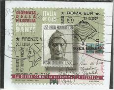 ITALIA REPUBBLICA ITALY REPUBLIC 2011 GIORNATA DELLA FILATELIA DANTE ALIGHIERI USATO USED OBLITERE´ - 6. 1946-.. Republic