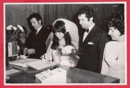 219467 / Old Real Original Photo - Marriage Mariage WEDDING - Bride And Groom Bridegroom FLOWERS Bulgaria Bulgarie - Personnes Anonymes