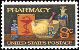 1972 USA 120th Anni American Pharmaceutical Association Stamp Sc#1473 Health Pharmacy Medicine Bowl Pestle Snake - Snakes