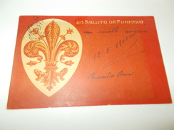 B652  Firenze Un Saluto Cm14x9 Pieghina Angolo Viagg. - Firenze (Florence)