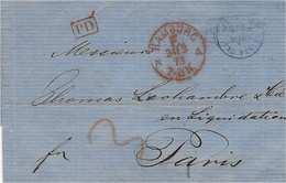 1873- Letter  PAID  - HAMBURG / F   + P D Red   To Paris