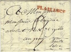 """1807- Lettre De """"PLAISANCE """"  37 Mm Rouge Pour Le Puy ( France )  Taxe 9 D. - ...-1850 Préphilatélie"""
