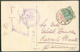 5c. Obl. POSTA MILITARE * 57 Sur C.P. Du 21-7-1918 Vers Piazzola + Dc Violet COMANDO DEL 26° GRUPPO BATTERIE D'ASSEDIO + - 8. Occupazione 1a Guerra