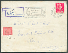 France Lettre Affr. 15Fr. De STRABOURG 23-11-1956 Vers Pétange (GD De Luxembourg) Et Taxée à 1Fr. -  11782 - Postage Due
