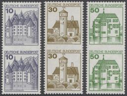 Bundesrepublik Deutschland: 1977/1980: Burgen Und Schlösser, Senkrechte Postfrische Paare 10 Pfg, 30 Pfg Und 50 Pfg