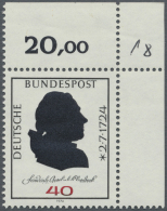 """Bundesrepublik Deutschland: 1974, 40 Pfg. Klopstock Mit Abart """"teilweise Fehlender Namenszug"""", Tadellos Postfrisch Aus D"""