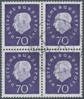 Bundesrepublik Deutschland: 1959. Heuss III 70 Pf Im Gestempelten 4er-Block. Gepr. Schlegel. (Mi. 500,-)