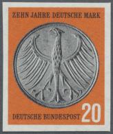 """Bundesrepublik Deutschland: 1958, 20 Pfg. 10 Jahre Deutsche Mark, Postfrisch In Der Type """"ungezähnt"""", Signiert. Mic"""