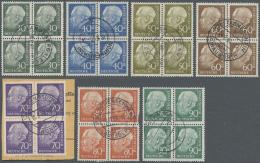 Bundesrepublik Deutschland: 1956, Heuss II Als Fast Zentrisch Gestempelter Viererblocksatz, 6 Werte Typgepüft Schle