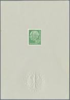 Bundesrepublik Deutschland: 1954, 10 Pf. Heuss Auf Ankündigungskarton Mit Fotoattest Schlegel BPP.