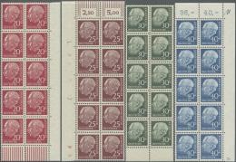 Bundesrepublik Deutschland: 1960, Freimarken Heuss Lumogen, Kompletter Satz Von 8 Werten Je Im 10er-Block, Meist Vom Eck