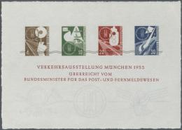 Bundesrepublik Deutschland: 1953: Verkehrsausstellung München, Sonderdruck In Blockform Auf Handgeschöpftem B&