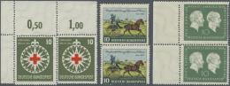 Bundesrepublik Deutschland: 1952/1954, Lot Mit 3 Postfrischen Markenpaaren Mit Stark Versetztem Kammschlag, Dabei Mi.Nr.