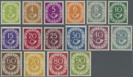 Bundesrepublik Deutschland: 1951: 2 Pfg. - 90 Pfg. Posthorn Als Postfrischer Satz, Geprüft Schlegel BPP