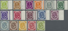 """Bundesrepublik Deutschland: 1951, Posthornsatz Komplett Postfrisch, Teils Randstücke, Fotoattest A. Schlegel """"Die M"""