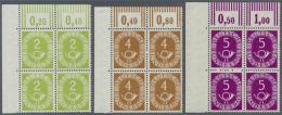 Bundesrepublik Deutschland: 1951, Posthorn, 2 Pfg. Bis 90 Pfg., Kompletter Satz Von 16 Werten In Postfrischen ECKRAND-VI