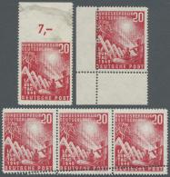 Bundesrepublik Deutschland: 1949, 20 Pfg. Bundestag, Lot Mit Zähnungsabarten, Dreierstreifen Mit Doppelzähnung