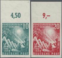 Bundesrepublik Deutschland: 1949, 10 Pfg. Und 20 Pfg. Bundestag Ungezähnt, Jeweils Mit Oberrand, Postfrisch, Pracht