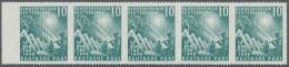 Bundesrepublik Deutschland: 1949, 10 Pfg. Bundestag Im Waagerechten 5er-Streifen Vom Linkem Rand, Rechte Marke Links Ung