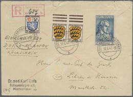 Französische Zone - Allgemeine Ausgabe: 1947, 2 M Schiller In Mischfrankatur Auf 1 Pfg. überfrankiertem Einsch
