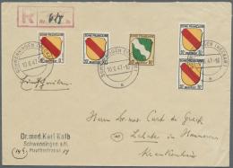 Französische Zone - Allgemeine Ausgabe: 1947, Die Seltene 10 Pfg. Wappen In Mischfrankatur Mit 8 Und 3-mal 30 Pfg.