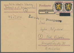Französische Zone - Allgemeine Ausgabe: 1946, 3 Pfg. Wappen Im Paar Als Zufrankatur Auf Aufbrauch-Ganzsachenkarte B