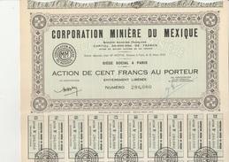 CORPORATION MINIERE DU MEXIQUE - ACTION DE 100 FRANCS -ANNEE 1923 - Mines