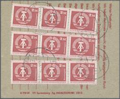 DDR: 1980, Staatswappen 2M, 3 Waag. Dreierstreifen Rs. Auf Einzahlungsbeleg Für Postschließfachgebühren