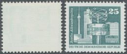 """DDR: 1980, 25 Pfg. Alexanderplatz Mit Abart """"fehlender Farb-Druckgang, Nur (versetzter) Blinddruck Des Stichtiefdrucks"""","""