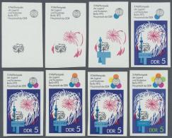 DDR: 1973, Weltfestspiele Der Jugend Und Studenten In Berlin 5 Pf. 'Feuerwerk Vor Fernseh- Und UKW-Turm' In 8 Verschiede